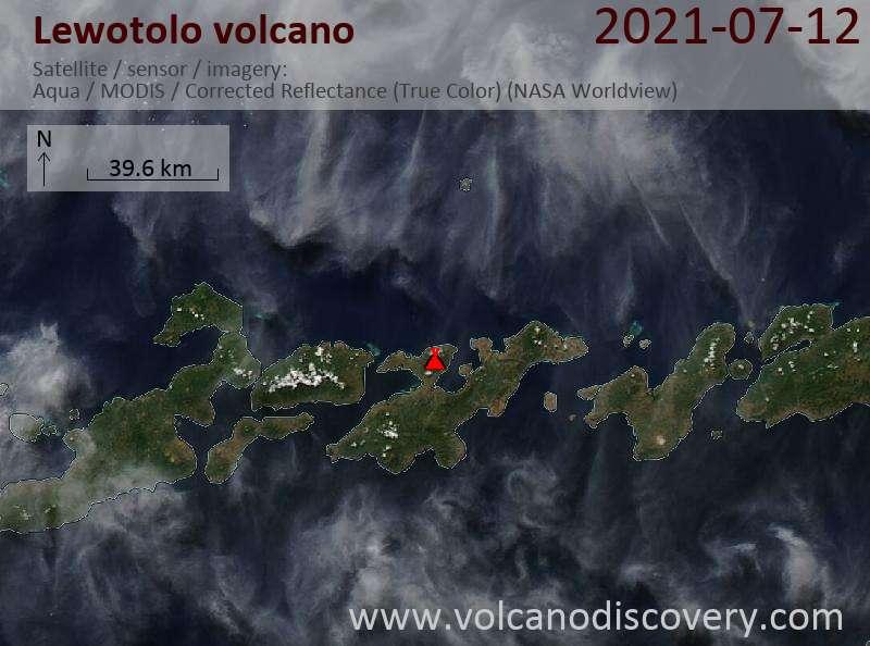 Satellite image of Lewotolo volcano on 13 Jul 2021