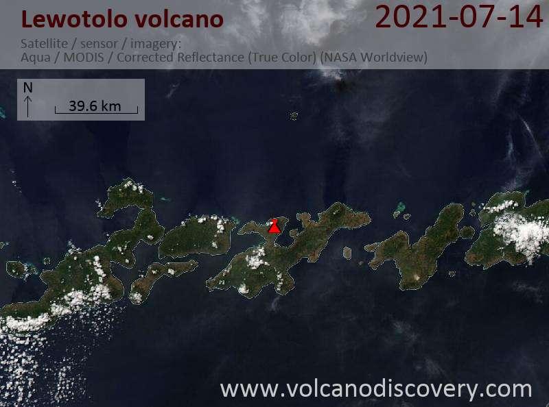 Satellite image of Lewotolo volcano on 14 Jul 2021
