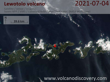 Satellite image of Lewotolo volcano on  5 Jul 2021