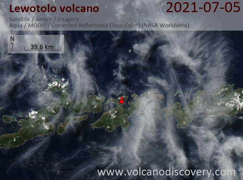 Satellite image of Lewotolo volcano on  6 Jul 2021
