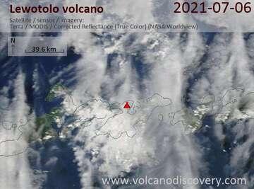 Satellite image of Lewotolo volcano on  7 Jul 2021