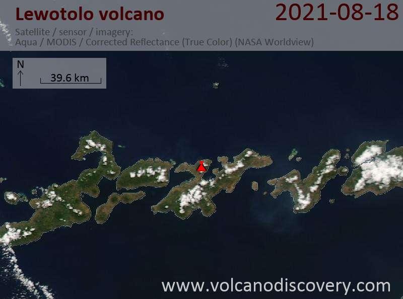 Satellite image of Lewotolo volcano on 19 Aug 2021