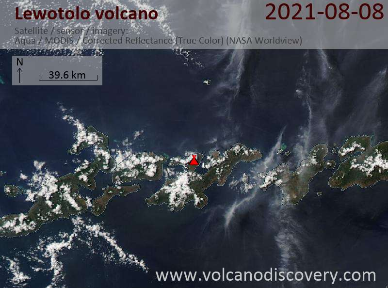 Satellite image of Lewotolo volcano on  8 Aug 2021