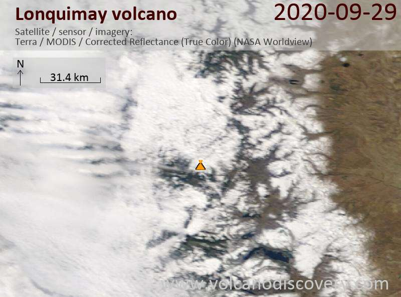 Satellite image of Lonquimay volcano on 29 Sep 2020