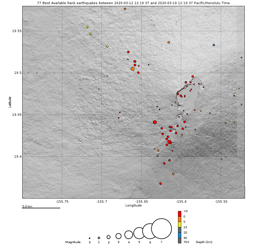 Location of earthquakes under Mauna Loa over the past week (C) U. S. Geological Survey