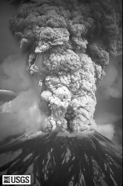 For more than nine hours a vigorous plume of ash erupted, eventually reaching 12 to 15 miles (20-25 kilometers) above sea level. The plume moved eastward at an average speed of 60 miles per hour (95 kilometers/hour), with ash reaching Idaho by noon. By early May 19, the devastating eruption was over. Shown here is a close-up view of the May 18 ash plume.