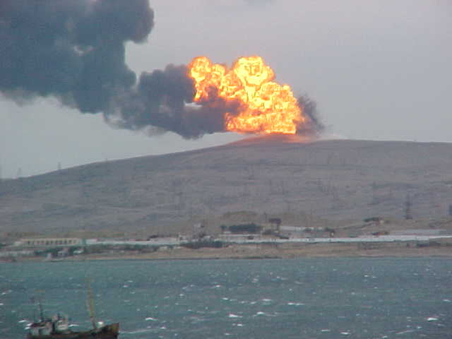 The fireball at Lokbatan mud volcano in 2001 (photo courtesy: Phil Hardy)