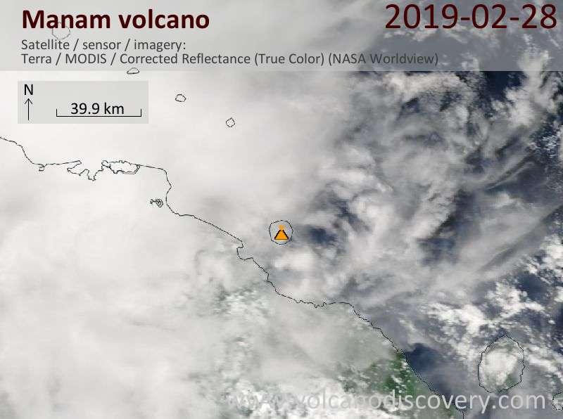 Satellite image of Manam volcano on 28 Feb 2019