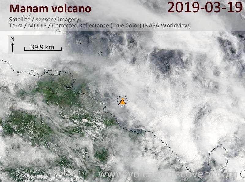 Satellite image of Manam volcano on 19 Mar 2019
