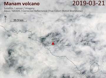 Satellite image of Manam volcano on 21 Mar 2019