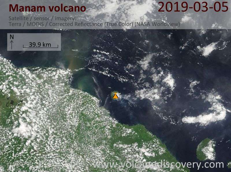 Satellite image of Manam volcano on  5 Mar 2019