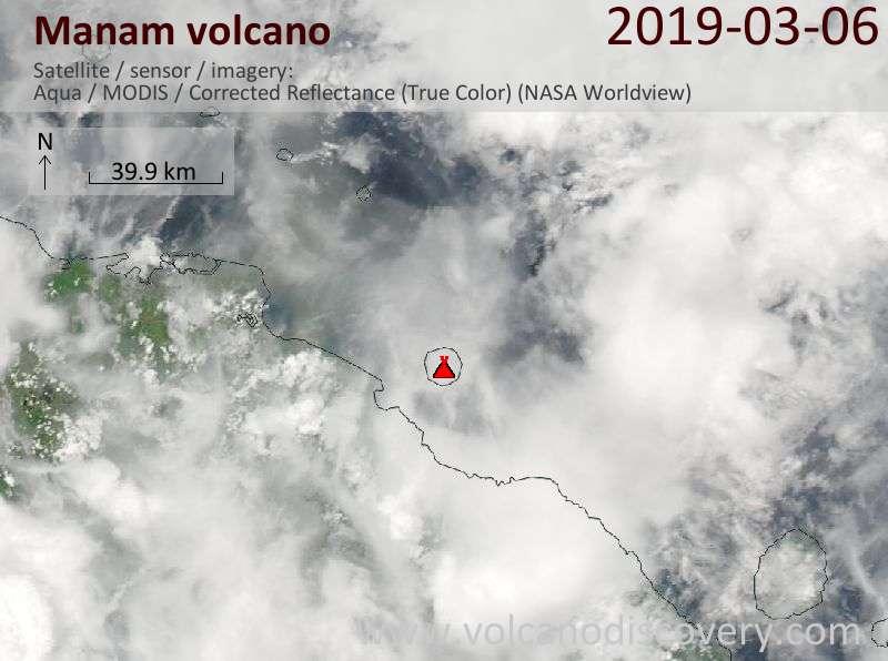 Satellite image of Manam volcano on  6 Mar 2019