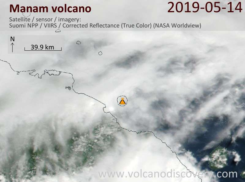 Satellite image of Manam volcano on 14 May 2019
