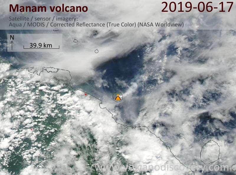 Satellite image of Manam volcano on 17 Jun 2019