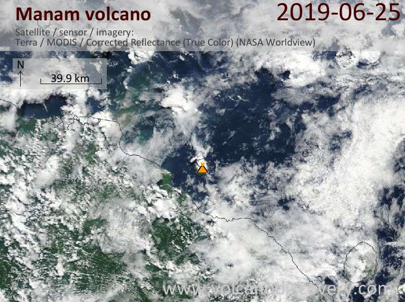 Satellite image of Manam volcano on 25 Jun 2019