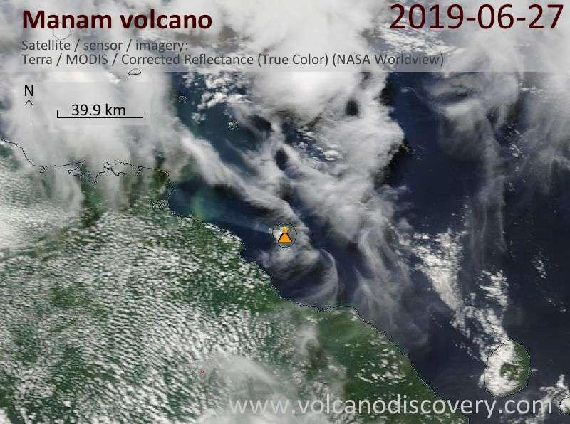 Satellite image of Manam volcano on 27 Jun 2019