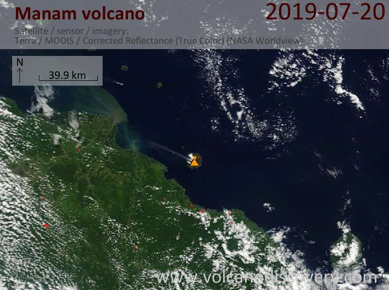 Satellitenbild des Manam Vulkans am 20 Jul 2019