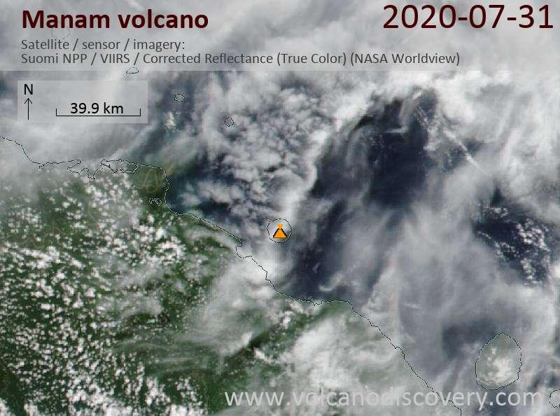 Satellite image of Manam volcano on 31 Jul 2020