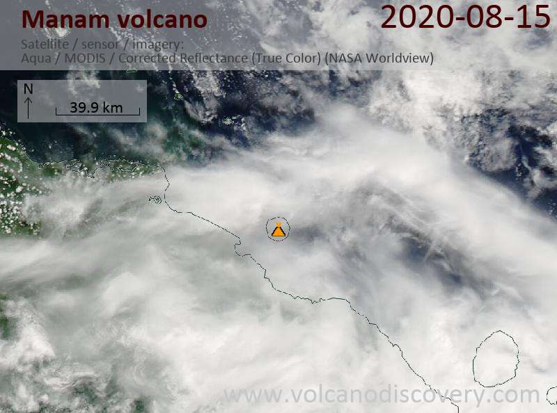 Satellite image of Manam volcano on 15 Aug 2020