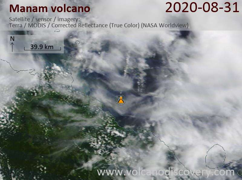 Satellite image of Manam volcano on 31 Aug 2020