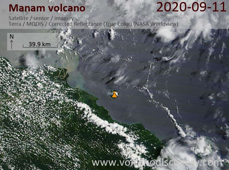 Satellitenbild des Manam Vulkans am 11 Sep 2020