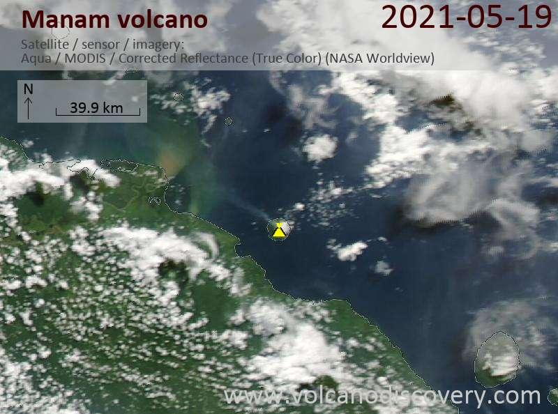 Satellite image of Manam volcano on 21 May 2021