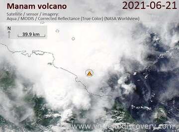 Satellite image of Manam volcano on 22 Jun 2021