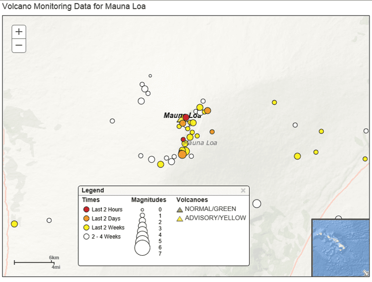Earthquake data for Mauna Loa volcano (C) U.S.Geological Survey