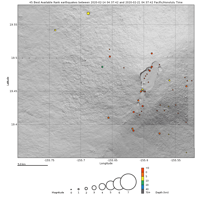 The location of recorded earthquakes over the past week (C) U.S. Geological Survey