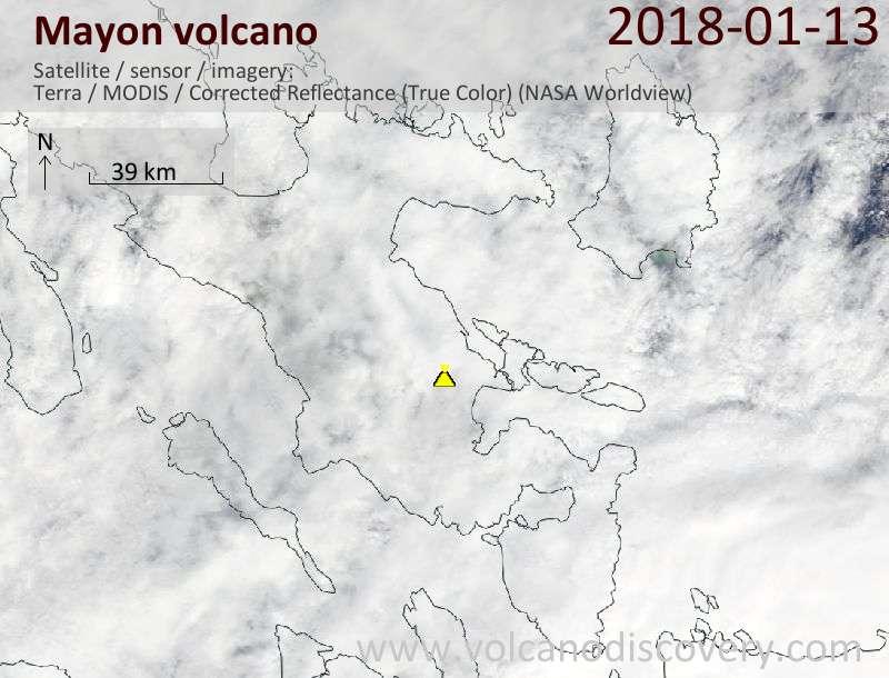 Satellite image of Mayon volcano on 13 Jan 2018