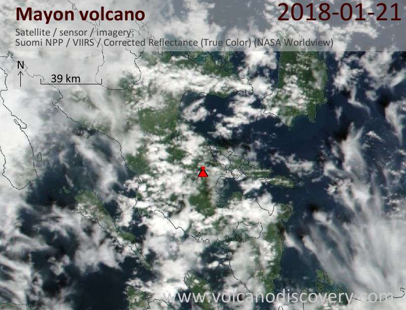Satellite image of Mayon volcano on 21 Jan 2018