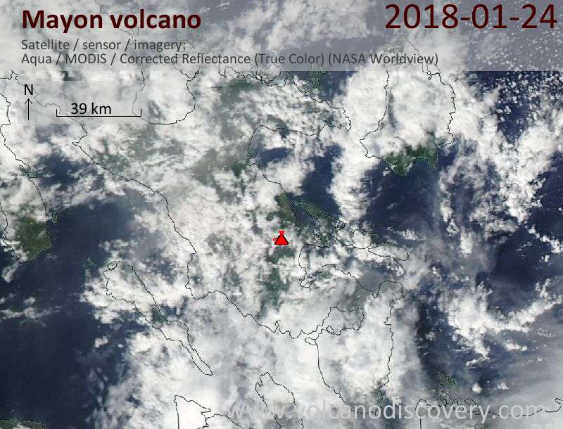 Satellite image of Mayon volcano on 24 Jan 2018