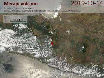 Satellite image of Merapi volcano on 14 Oct 2019