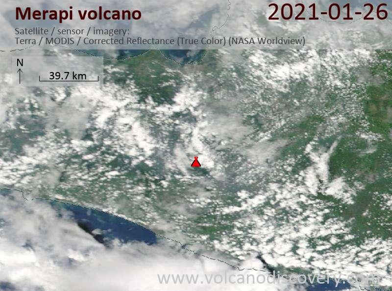 Satellite image of Merapi volcano on 26 Jan 2021