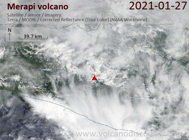 Satellite image of Merapi volcano on 27 Jan 2021