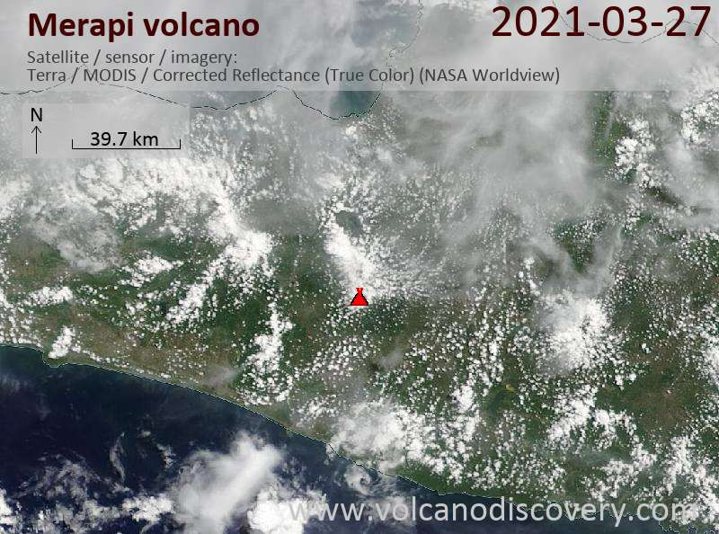 Satellite image of Merapi volcano on 27 Mar 2021