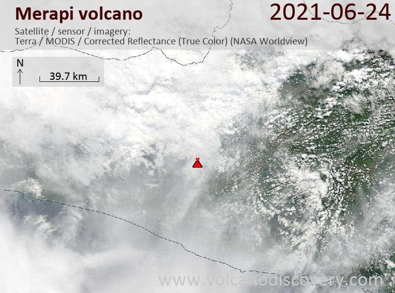 Satellite image of Merapi volcano on 24 Jun 2021