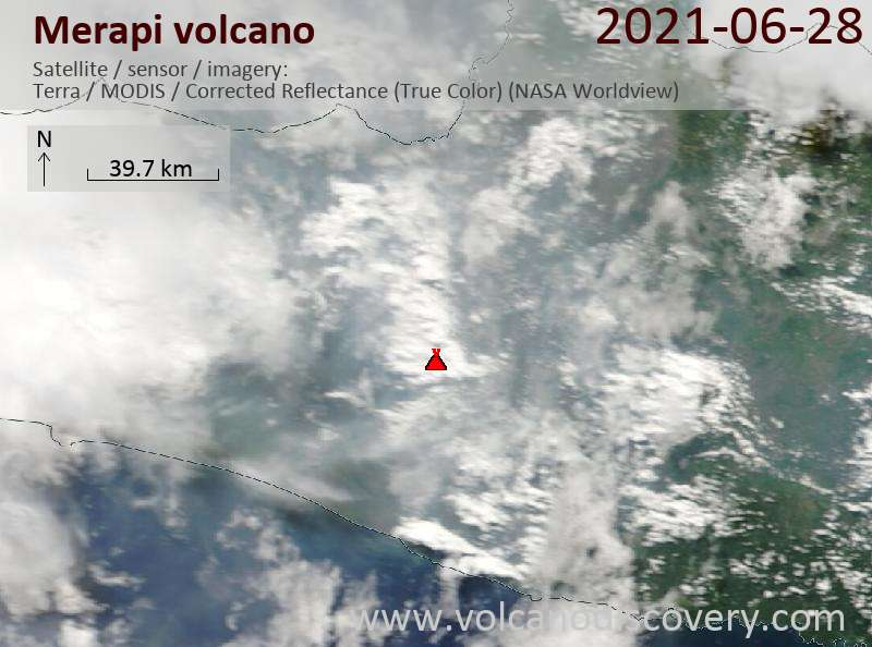 Satellite image of Merapi volcano on 29 Jun 2021