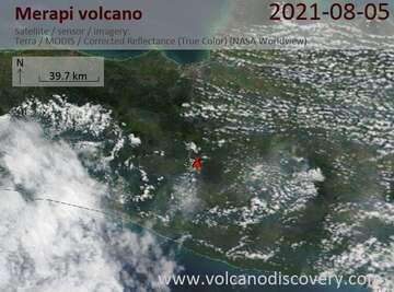 Satellite image of the Merapi volcano on August 6, 2021