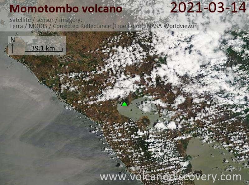 Satellite image of Momotombo volcano on 14 Mar 2021