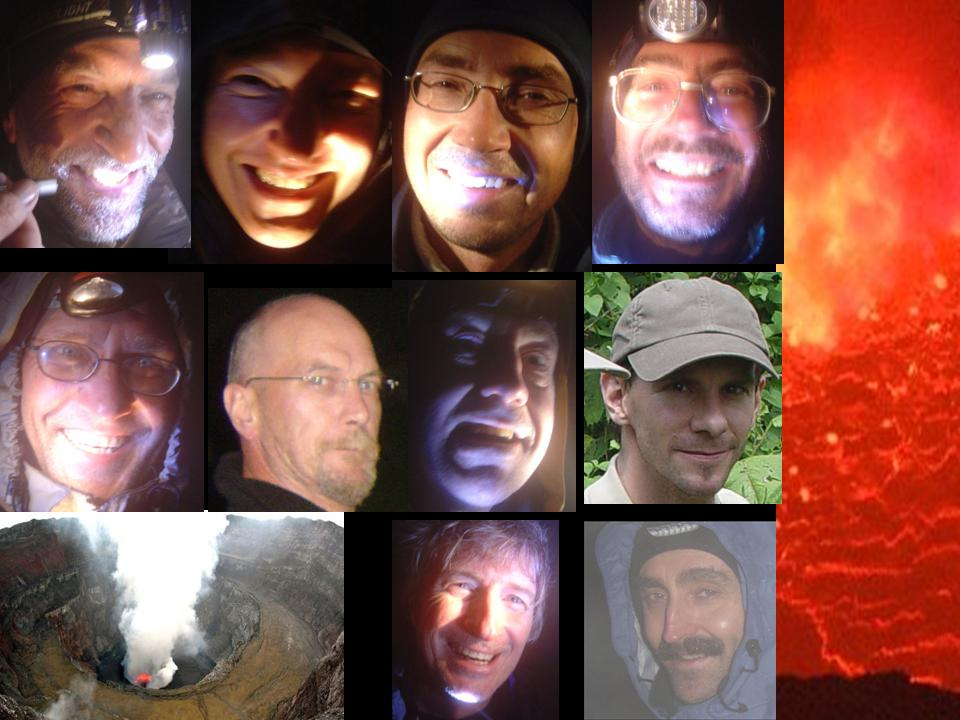 Our group making the best out of a foggy evening...from l to r and t to b: Norbert, Danny, Tom, Marco, Andreas, Brian, Peter, George, Nyiragongo, Greg and Paul. (thanks for the photo to Greg)