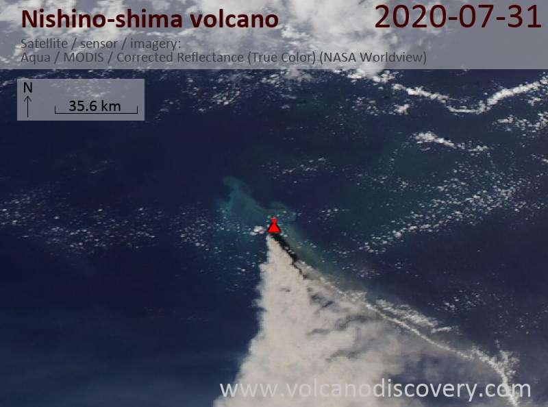 Satellite image of Nishino-shima volcano on  1 Aug 2020