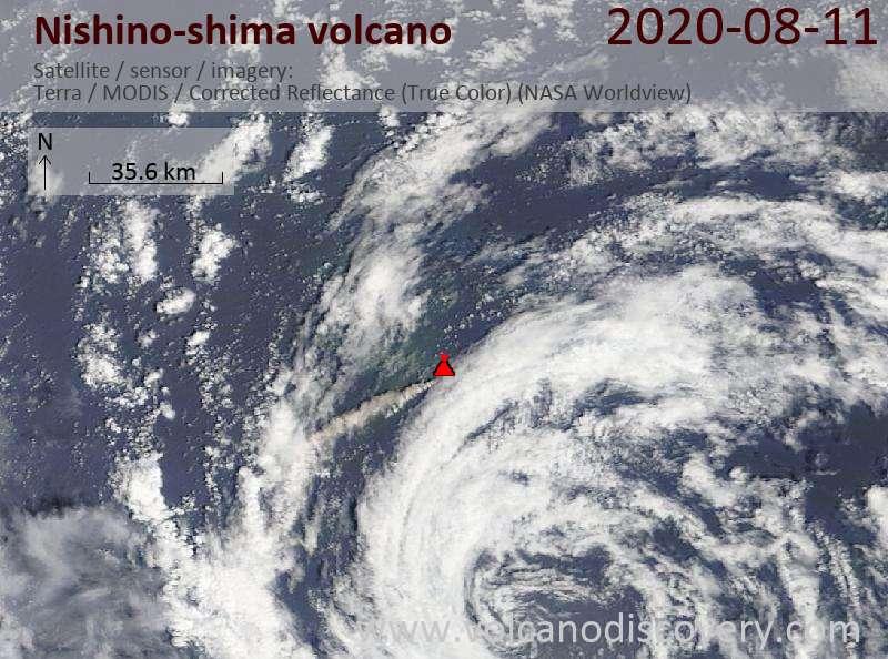 Satellite image of Nishino-shima volcano on 11 Aug 2020