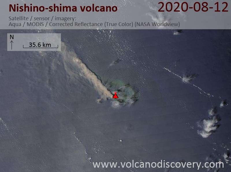 Спутниковое изображение вулкана Nishino-shima 13 Aug 2020