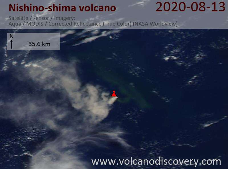 Satellitenbild des Nishino-shima Vulkans am 14 Aug 2020