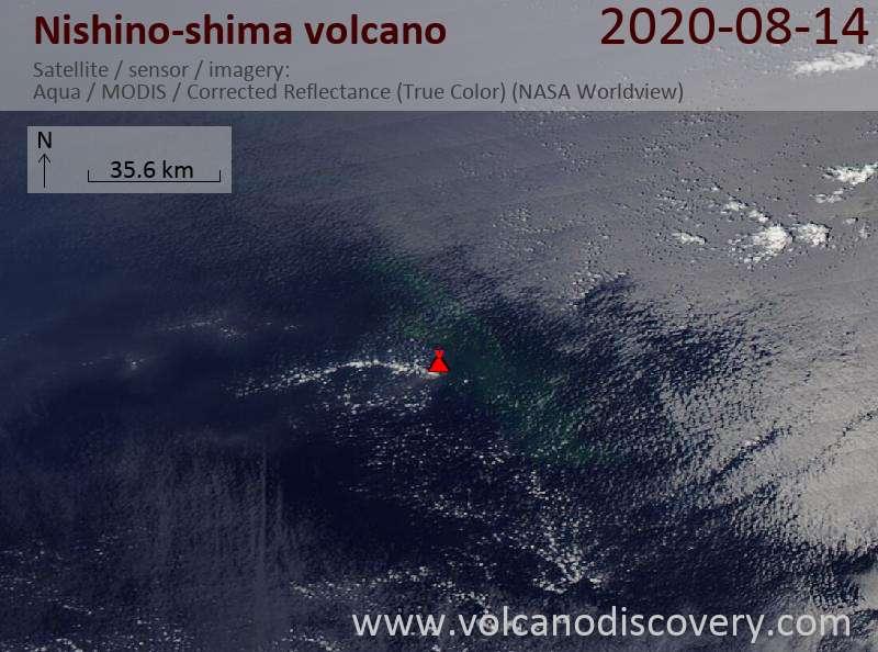 Satellitenbild des Nishino-shima Vulkans am 15 Aug 2020