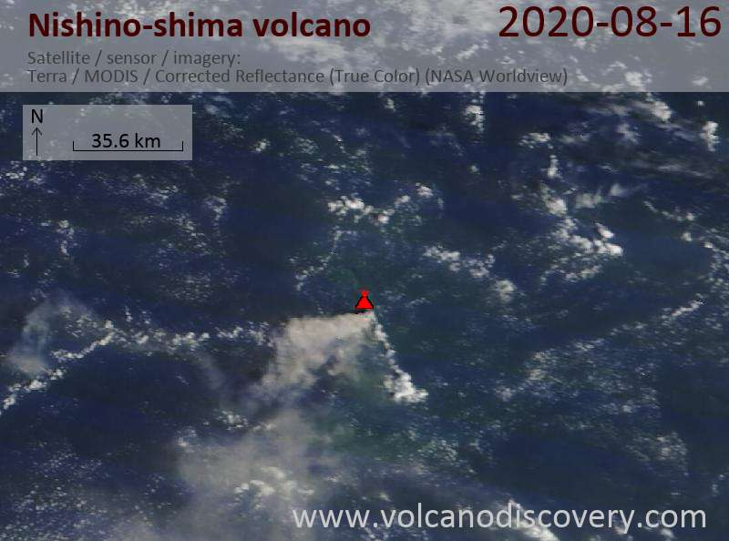 Satellitenbild des Nishino-shima Vulkans am 16 Aug 2020