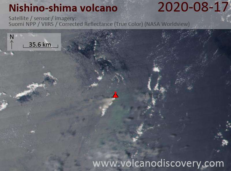 Satellite image of Nishino-shima volcano on 18 Aug 2020