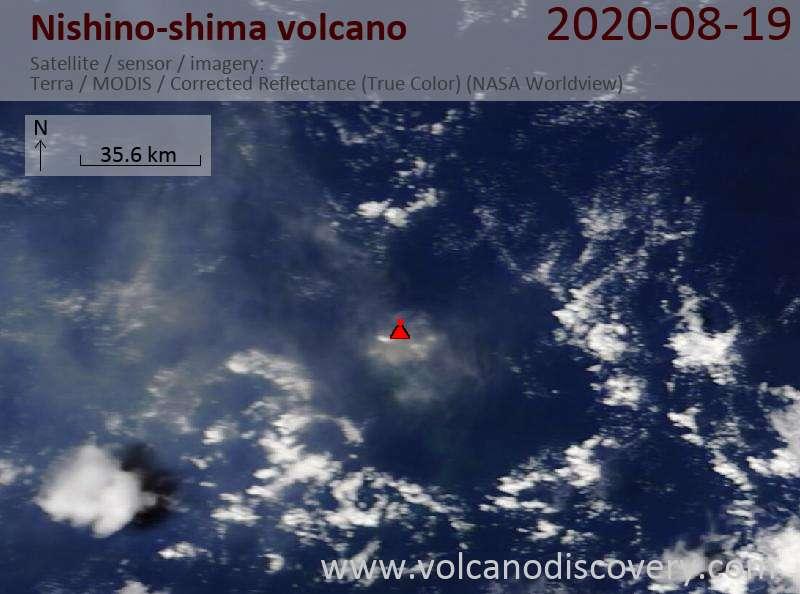 Спутниковое изображение вулкана Nishino-shima 19 Aug 2020