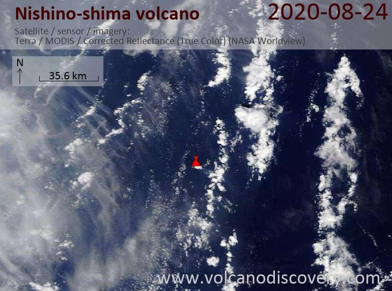 Satellitenbild des Nishino-shima Vulkans am 24 Aug 2020